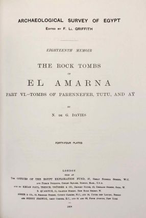 The rock tombs of Tell el-Amarna. Complete set of 6 volumes. Part I: The Tomb of Meryra. Part II: The Tombs of Panehesy and Meryra II. Part III: The Tombs of Huya and Ahmes. Part IV: Tombs of Penthu, Mahu, and Others. Part V: Smaller Tombs and Boundary Stelae. Part VI: Tombs of Parennefer, Tutu, and Aÿ (complete set of 6 parts in 3 volumes, 2004 reedition)[newline]M0410n-38.jpeg