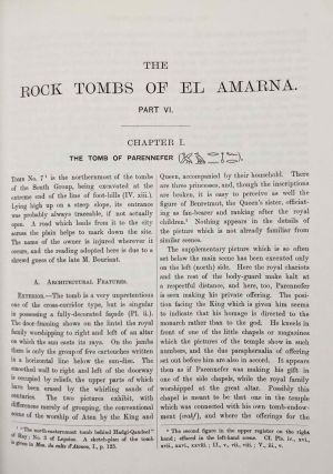 The rock tombs of Tell el-Amarna. Complete set of 6 volumes. Part I: The Tomb of Meryra. Part II: The Tombs of Panehesy and Meryra II. Part III: The Tombs of Huya and Ahmes. Part IV: Tombs of Penthu, Mahu, and Others. Part V: Smaller Tombs and Boundary Stelae. Part VI: Tombs of Parennefer, Tutu, and Aÿ (complete set of 6 parts in 3 volumes, 2004 reedition)[newline]M0410n-40.jpeg