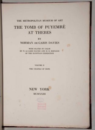Robb de Peyster Tytus series, complete set of 5 volumes. Vol. I: The tomb of Nakht. Vol. II: The tomb of Puyemre. Part I: The hall of memories. Vol. III: The tomb of Puyemre. Part II: The chapels of hope. Vol. IV: The tomb of the two sculptors at Thebes. Vol. V: Two ramesside tombs at Thebes.[newline]M0421-12.jpg