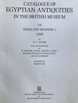 Catalogue of Egyptian Antiquities in the British Museum VII: Tools and weapons, I: Axes[newline]M0436a-01.jpg