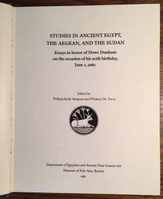 Festschrift Dows Dunham. Studies in Ancient Egypt, the Aegean, and the Sudan.[newline]M0473a-03.jpg