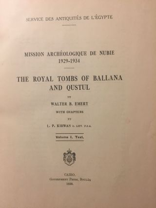 The royal tombs of Ballana and Qustul. Vol. I: Text. Vol. II: Plates (complete set)[newline]M0513b-03.jpg
