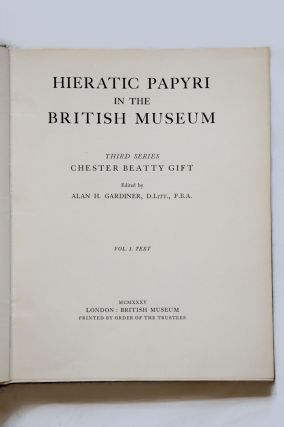 Hieratic papyri in the British Museum. Third Series: Chester Beatty Gift. Vol. I: Text. Vol. II: Plates (complete set)[newline]M0603b-01.jpg