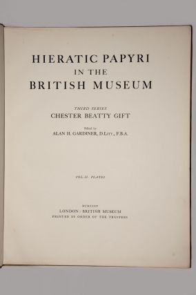 Hieratic papyri in the British Museum. Third Series: Chester Beatty Gift. Vol. I: Text. Vol. II: Plates (complete set)[newline]M0603b-03.jpg