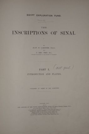 The inscriptions of Sinai. Part I: Introduction and plates. Part II: Translations and commentary...[newline]M0626-01.jpg