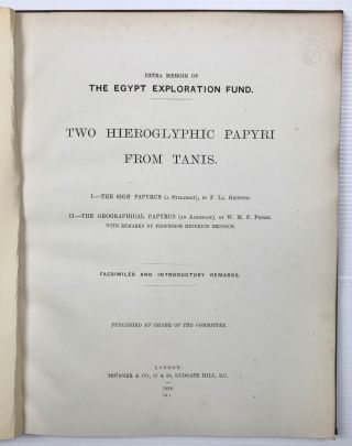 Two hieroglyphic papyri from Tanis. I. The sign papyrus (a syllabary). II. The geographical papyrus (an almanach). I by F.Ll. Griffith. II by W.M.F. Petrie with remarks by Heinrich Brugsch[newline]M0730e-04.jpg