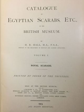 Catalogue of Egyptian scarabs, etc. in the British Museum. Vol. I: Royal scarabs [All published ][newline]M0745-01.jpg