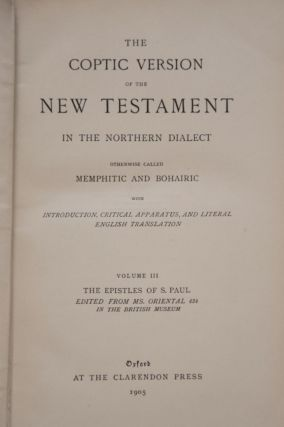 The Coptic Version of the New Testament in the Northern Dialect, 4 volumes (complete set)[newline]M0817-09.jpg