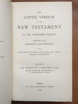 The Coptic version of the New Testament in the Northern dialect otherwise called memphitic and Bohairic, 4 volumes (complete set)[newline]M0817b-06.jpg