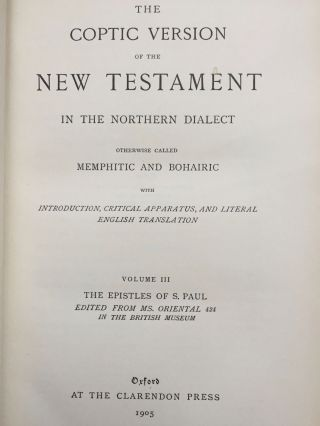 The Coptic version of the New Testament in the Northern dialect otherwise called memphitic and Bohairic, 4 volumes (complete set)[newline]M0817b-09.jpg