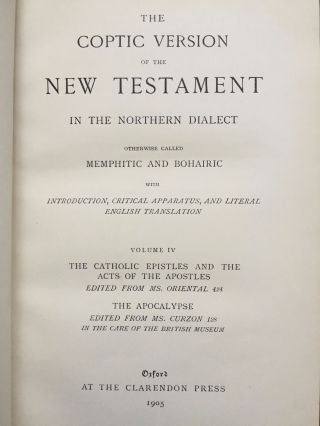 The Coptic version of the New Testament in the Northern dialect otherwise called memphitic and Bohairic, 4 volumes (complete set)[newline]M0817b-14.jpg