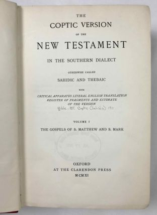 The Coptic version of the New Testament in the Southern dialect otherwise called Sahidic and Thebaic, 7 volumes (complete set)[newline]M0817d-04.jpeg