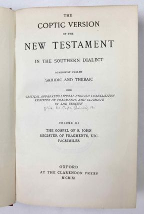 The Coptic version of the New Testament in the Southern dialect otherwise called Sahidic and Thebaic, 7 volumes (complete set)[newline]M0817d-20.jpeg