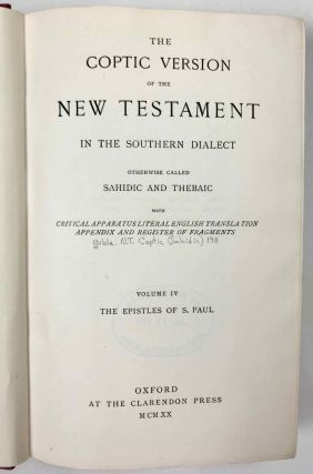 The Coptic version of the New Testament in the Southern dialect otherwise called Sahidic and Thebaic, 7 volumes (complete set)[newline]M0817d-27.jpeg