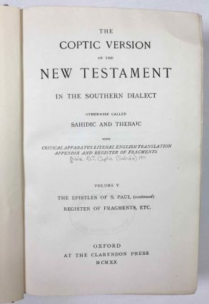 The Coptic version of the New Testament in the Southern dialect otherwise called Sahidic and Thebaic, 7 volumes (complete set)[newline]M0817d-34.jpeg