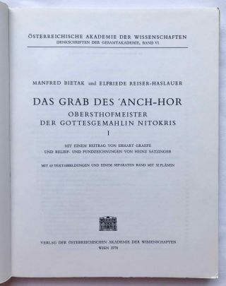 Das Grab des 'Anch-Hor, Obersthofmeister der Gottesgemahlin Nitokris. 2 volumes. Without the additional volume of plans.[newline]M1015e-02.jpg