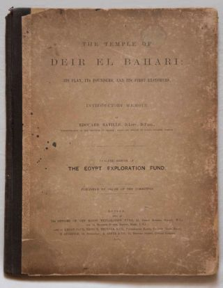 Deir el-Bahari, complete set of 7 volumes: Introduction volume: its plan, its founders and its first explorers. Part I (Pl. I-XXIV): The North-Western end of the upper platform. Part II (Pl. XXV-LV): The ebony shrine. Northern half of the middle platform. Part III (Pl. LVI-LXXXVI): End of northern half and southern half of the middle platform. Part IV (Pl. LXXXVII-CXVIII): The shrine of Hathor and the southern hall of offerings. Part V (Pl. CXIX-CL): The upper court and sanctuary. Part VI (Pl. CLI-CLXXIV): The lower terrace, additions and plans.[newline]M1197-01.jpg