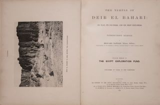Deir el-Bahari, complete set of 7 volumes: Introduction volume: its plan, its founders and its first explorers. Part I (Pl. I-XXIV): The North-Western end of the upper platform. Part II (Pl. XXV-LV): The ebony shrine. Northern half of the middle platform. Part III (Pl. LVI-LXXXVI): End of northern half and southern half of the middle platform. Part IV (Pl. LXXXVII-CXVIII): The shrine of Hathor and the southern hall of offerings. Part V (Pl. CXIX-CL): The upper court and sanctuary. Part VI (Pl. CLI-CLXXIV): The lower terrace, additions and plans.[newline]M1197-03.jpg