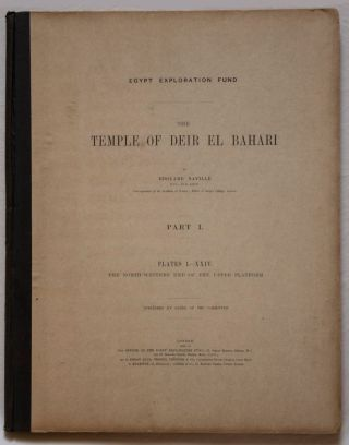 Deir el-Bahari, complete set of 7 volumes: Introduction volume: its plan, its founders and its first explorers. Part I (Pl. I-XXIV): The North-Western end of the upper platform. Part II (Pl. XXV-LV): The ebony shrine. Northern half of the middle platform. Part III (Pl. LVI-LXXXVI): End of northern half and southern half of the middle platform. Part IV (Pl. LXXXVII-CXVIII): The shrine of Hathor and the southern hall of offerings. Part V (Pl. CXIX-CL): The upper court and sanctuary. Part VI (Pl. CLI-CLXXIV): The lower terrace, additions and plans.[newline]M1197-07.jpg