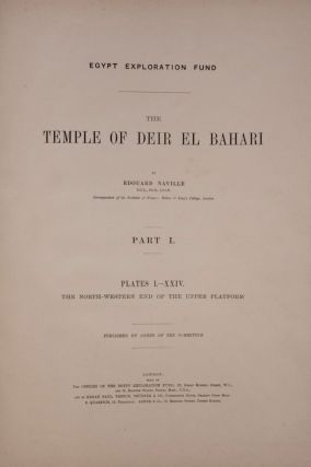 Deir el-Bahari, complete set of 7 volumes: Introduction volume: its plan, its founders and its first explorers. Part I (Pl. I-XXIV): The North-Western end of the upper platform. Part II (Pl. XXV-LV): The ebony shrine. Northern half of the middle platform. Part III (Pl. LVI-LXXXVI): End of northern half and southern half of the middle platform. Part IV (Pl. LXXXVII-CXVIII): The shrine of Hathor and the southern hall of offerings. Part V (Pl. CXIX-CL): The upper court and sanctuary. Part VI (Pl. CLI-CLXXIV): The lower terrace, additions and plans.[newline]M1197-08.jpg