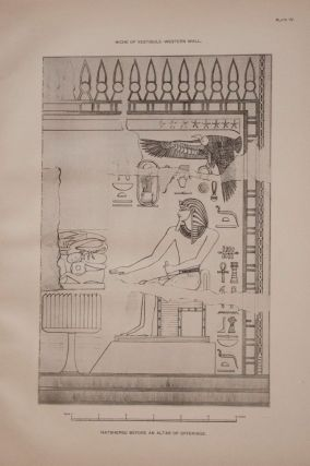 Deir el-Bahari, complete set of 7 volumes: Introduction volume: its plan, its founders and its first explorers. Part I (Pl. I-XXIV): The North-Western end of the upper platform. Part II (Pl. XXV-LV): The ebony shrine. Northern half of the middle platform. Part III (Pl. LVI-LXXXVI): End of northern half and southern half of the middle platform. Part IV (Pl. LXXXVII-CXVIII): The shrine of Hathor and the southern hall of offerings. Part V (Pl. CXIX-CL): The upper court and sanctuary. Part VI (Pl. CLI-CLXXIV): The lower terrace, additions and plans.[newline]M1197-10.jpg