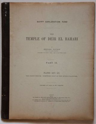 Deir el-Bahari, complete set of 7 volumes: Introduction volume: its plan, its founders and its first explorers. Part I (Pl. I-XXIV): The North-Western end of the upper platform. Part II (Pl. XXV-LV): The ebony shrine. Northern half of the middle platform. Part III (Pl. LVI-LXXXVI): End of northern half and southern half of the middle platform. Part IV (Pl. LXXXVII-CXVIII): The shrine of Hathor and the southern hall of offerings. Part V (Pl. CXIX-CL): The upper court and sanctuary. Part VI (Pl. CLI-CLXXIV): The lower terrace, additions and plans.[newline]M1197-12.jpg