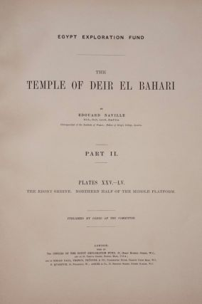 Deir el-Bahari, complete set of 7 volumes: Introduction volume: its plan, its founders and its first explorers. Part I (Pl. I-XXIV): The North-Western end of the upper platform. Part II (Pl. XXV-LV): The ebony shrine. Northern half of the middle platform. Part III (Pl. LVI-LXXXVI): End of northern half and southern half of the middle platform. Part IV (Pl. LXXXVII-CXVIII): The shrine of Hathor and the southern hall of offerings. Part V (Pl. CXIX-CL): The upper court and sanctuary. Part VI (Pl. CLI-CLXXIV): The lower terrace, additions and plans.[newline]M1197-13.jpg