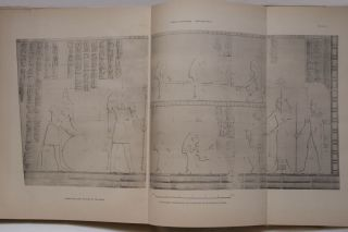 Deir el-Bahari, complete set of 7 volumes: Introduction volume: its plan, its founders and its first explorers. Part I (Pl. I-XXIV): The North-Western end of the upper platform. Part II (Pl. XXV-LV): The ebony shrine. Northern half of the middle platform. Part III (Pl. LVI-LXXXVI): End of northern half and southern half of the middle platform. Part IV (Pl. LXXXVII-CXVIII): The shrine of Hathor and the southern hall of offerings. Part V (Pl. CXIX-CL): The upper court and sanctuary. Part VI (Pl. CLI-CLXXIV): The lower terrace, additions and plans.[newline]M1197-17.jpg