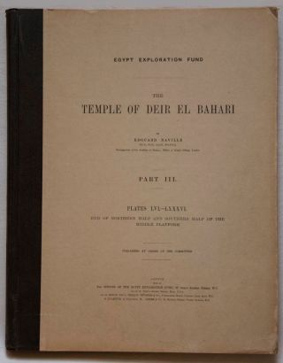 Deir el-Bahari, complete set of 7 volumes: Introduction volume: its plan, its founders and its first explorers. Part I (Pl. I-XXIV): The North-Western end of the upper platform. Part II (Pl. XXV-LV): The ebony shrine. Northern half of the middle platform. Part III (Pl. LVI-LXXXVI): End of northern half and southern half of the middle platform. Part IV (Pl. LXXXVII-CXVIII): The shrine of Hathor and the southern hall of offerings. Part V (Pl. CXIX-CL): The upper court and sanctuary. Part VI (Pl. CLI-CLXXIV): The lower terrace, additions and plans.[newline]M1197-18.jpg