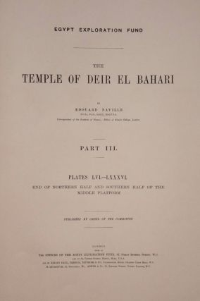 Deir el-Bahari, complete set of 7 volumes: Introduction volume: its plan, its founders and its first explorers. Part I (Pl. I-XXIV): The North-Western end of the upper platform. Part II (Pl. XXV-LV): The ebony shrine. Northern half of the middle platform. Part III (Pl. LVI-LXXXVI): End of northern half and southern half of the middle platform. Part IV (Pl. LXXXVII-CXVIII): The shrine of Hathor and the southern hall of offerings. Part V (Pl. CXIX-CL): The upper court and sanctuary. Part VI (Pl. CLI-CLXXIV): The lower terrace, additions and plans.[newline]M1197-19.jpg