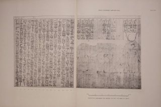 Deir el-Bahari, complete set of 7 volumes: Introduction volume: its plan, its founders and its first explorers. Part I (Pl. I-XXIV): The North-Western end of the upper platform. Part II (Pl. XXV-LV): The ebony shrine. Northern half of the middle platform. Part III (Pl. LVI-LXXXVI): End of northern half and southern half of the middle platform. Part IV (Pl. LXXXVII-CXVIII): The shrine of Hathor and the southern hall of offerings. Part V (Pl. CXIX-CL): The upper court and sanctuary. Part VI (Pl. CLI-CLXXIV): The lower terrace, additions and plans.[newline]M1197-21.jpg