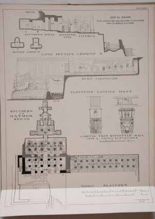 Deir el-Bahari, complete set of 7 volumes: Introduction volume: its plan, its founders and its first explorers. Part I (Pl. I-XXIV): The North-Western end of the upper platform. Part II (Pl. XXV-LV): The ebony shrine. Northern half of the middle platform. Part III (Pl. LVI-LXXXVI): End of northern half and southern half of the middle platform. Part IV (Pl. LXXXVII-CXVIII): The shrine of Hathor and the southern hall of offerings. Part V (Pl. CXIX-CL): The upper court and sanctuary. Part VI (Pl. CLI-CLXXIV): The lower terrace, additions and plans.[newline]M1197-22.jpg