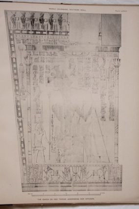 Deir el-Bahari, complete set of 7 volumes: Introduction volume: its plan, its founders and its first explorers. Part I (Pl. I-XXIV): The North-Western end of the upper platform. Part II (Pl. XXV-LV): The ebony shrine. Northern half of the middle platform. Part III (Pl. LVI-LXXXVI): End of northern half and southern half of the middle platform. Part IV (Pl. LXXXVII-CXVIII): The shrine of Hathor and the southern hall of offerings. Part V (Pl. CXIX-CL): The upper court and sanctuary. Part VI (Pl. CLI-CLXXIV): The lower terrace, additions and plans.[newline]M1197-23.jpg