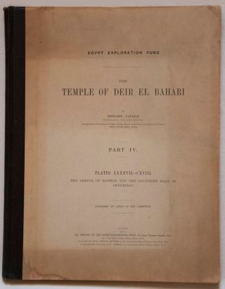 Deir el-Bahari, complete set of 7 volumes: Introduction volume: its plan, its founders and its first explorers. Part I (Pl. I-XXIV): The North-Western end of the upper platform. Part II (Pl. XXV-LV): The ebony shrine. Northern half of the middle platform. Part III (Pl. LVI-LXXXVI): End of northern half and southern half of the middle platform. Part IV (Pl. LXXXVII-CXVIII): The shrine of Hathor and the southern hall of offerings. Part V (Pl. CXIX-CL): The upper court and sanctuary. Part VI (Pl. CLI-CLXXIV): The lower terrace, additions and plans.[newline]M1197-24.jpg