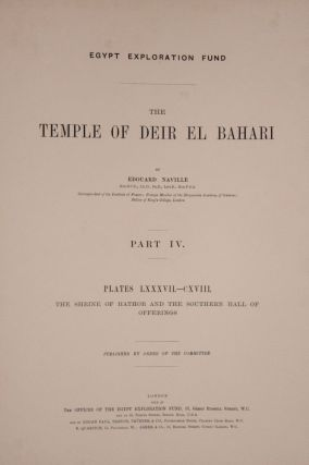 Deir el-Bahari, complete set of 7 volumes: Introduction volume: its plan, its founders and its first explorers. Part I (Pl. I-XXIV): The North-Western end of the upper platform. Part II (Pl. XXV-LV): The ebony shrine. Northern half of the middle platform. Part III (Pl. LVI-LXXXVI): End of northern half and southern half of the middle platform. Part IV (Pl. LXXXVII-CXVIII): The shrine of Hathor and the southern hall of offerings. Part V (Pl. CXIX-CL): The upper court and sanctuary. Part VI (Pl. CLI-CLXXIV): The lower terrace, additions and plans.[newline]M1197-25.jpg