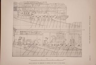 Deir el-Bahari, complete set of 7 volumes: Introduction volume: its plan, its founders and its first explorers. Part I (Pl. I-XXIV): The North-Western end of the upper platform. Part II (Pl. XXV-LV): The ebony shrine. Northern half of the middle platform. Part III (Pl. LVI-LXXXVI): End of northern half and southern half of the middle platform. Part IV (Pl. LXXXVII-CXVIII): The shrine of Hathor and the southern hall of offerings. Part V (Pl. CXIX-CL): The upper court and sanctuary. Part VI (Pl. CLI-CLXXIV): The lower terrace, additions and plans.[newline]M1197-27.jpg