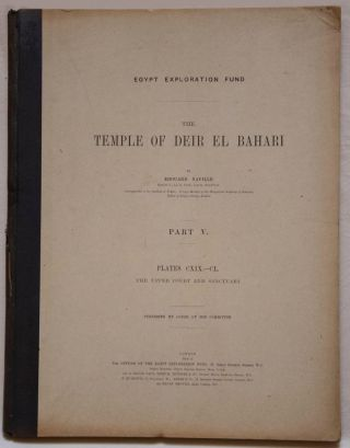 Deir el-Bahari, complete set of 7 volumes: Introduction volume: its plan, its founders and its first explorers. Part I (Pl. I-XXIV): The North-Western end of the upper platform. Part II (Pl. XXV-LV): The ebony shrine. Northern half of the middle platform. Part III (Pl. LVI-LXXXVI): End of northern half and southern half of the middle platform. Part IV (Pl. LXXXVII-CXVIII): The shrine of Hathor and the southern hall of offerings. Part V (Pl. CXIX-CL): The upper court and sanctuary. Part VI (Pl. CLI-CLXXIV): The lower terrace, additions and plans.[newline]M1197-29.jpg