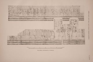 Deir el-Bahari, complete set of 7 volumes: Introduction volume: its plan, its founders and its first explorers. Part I (Pl. I-XXIV): The North-Western end of the upper platform. Part II (Pl. XXV-LV): The ebony shrine. Northern half of the middle platform. Part III (Pl. LVI-LXXXVI): End of northern half and southern half of the middle platform. Part IV (Pl. LXXXVII-CXVIII): The shrine of Hathor and the southern hall of offerings. Part V (Pl. CXIX-CL): The upper court and sanctuary. Part VI (Pl. CLI-CLXXIV): The lower terrace, additions and plans.[newline]M1197-32.jpg
