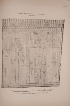 Deir el-Bahari, complete set of 7 volumes: Introduction volume: its plan, its founders and its first explorers. Part I (Pl. I-XXIV): The North-Western end of the upper platform. Part II (Pl. XXV-LV): The ebony shrine. Northern half of the middle platform. Part III (Pl. LVI-LXXXVI): End of northern half and southern half of the middle platform. Part IV (Pl. LXXXVII-CXVIII): The shrine of Hathor and the southern hall of offerings. Part V (Pl. CXIX-CL): The upper court and sanctuary. Part VI (Pl. CLI-CLXXIV): The lower terrace, additions and plans.[newline]M1197-33.jpg