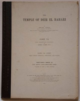 Deir el-Bahari, complete set of 7 volumes: Introduction volume: its plan, its founders and its first explorers. Part I (Pl. I-XXIV): The North-Western end of the upper platform. Part II (Pl. XXV-LV): The ebony shrine. Northern half of the middle platform. Part III (Pl. LVI-LXXXVI): End of northern half and southern half of the middle platform. Part IV (Pl. LXXXVII-CXVIII): The shrine of Hathor and the southern hall of offerings. Part V (Pl. CXIX-CL): The upper court and sanctuary. Part VI (Pl. CLI-CLXXIV): The lower terrace, additions and plans.[newline]M1197-34.jpg