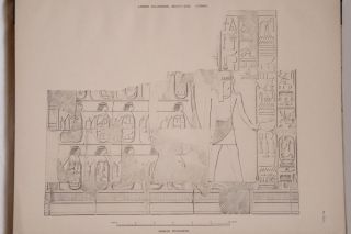 Deir el-Bahari, complete set of 7 volumes: Introduction volume: its plan, its founders and its first explorers. Part I (Pl. I-XXIV): The North-Western end of the upper platform. Part II (Pl. XXV-LV): The ebony shrine. Northern half of the middle platform. Part III (Pl. LVI-LXXXVI): End of northern half and southern half of the middle platform. Part IV (Pl. LXXXVII-CXVIII): The shrine of Hathor and the southern hall of offerings. Part V (Pl. CXIX-CL): The upper court and sanctuary. Part VI (Pl. CLI-CLXXIV): The lower terrace, additions and plans.[newline]M1197-37.jpg