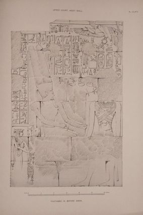 Deir el-Bahari, complete set of 7 volumes: Introduction volume: its plan, its founders and its first explorers. Part I (Pl. I-XXIV): The North-Western end of the upper platform. Part II (Pl. XXV-LV): The ebony shrine. Northern half of the middle platform. Part III (Pl. LVI-LXXXVI): End of northern half and southern half of the middle platform. Part IV (Pl. LXXXVII-CXVIII): The shrine of Hathor and the southern hall of offerings. Part V (Pl. CXIX-CL): The upper court and sanctuary. Part VI (Pl. CLI-CLXXIV): The lower terrace, additions and plans.[newline]M1197-38.jpg