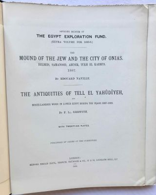 The mound of the Jew and the city of Onias. Belbeis, Samanood, Abusir, Tukh el-Karmus. 1887. The antiquities of Tell el-Yahudiyeh and miscellaneous works in Lower Egypt during the years 1887-1888[newline]M1206a-02.jpg