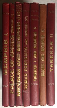 Memphis series, complete set of 7 volumes. Vol. I: Memphis I. Vol. II: The palace of Apries (Memphis II). Vol. III: Meydum and Memphis III. Vol. IV: Roman portraits and Memphis (IV). Vol. V: Tarkhan I and Memphis (V). Vol. VI: Riqqeh and Memphis VI. Vol. VII: Tarkhan II. WAINWRIGHT G. A. - GARDINER A. H. - ENGELBACH Reginald, PETRIE William M. Flinders.[newline]M1294c.jpg