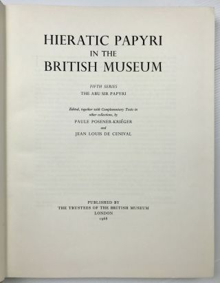 The Abu Sir papyri. Edited, together with Complementary Texts in other collections.[newline]M1382h-02.jpeg