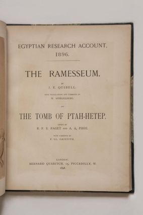The Ramesseum and the tomb of Ptahhetep. The Ramesseum. With translations and comments by W. Spiegelberg. And, The Tomb of Ptah-Hetep. Copied by R.F.E. Paget and A.A. Pirie. With comments by F. Ll. Griffith.[newline]M1396-02.jpg