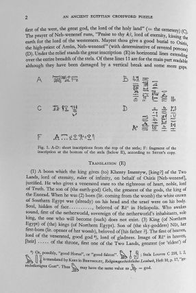An ancient Egyptian crossword puzzle. An Inscription of Neb-wenenef from Thebes.[newline]M1769d-06.jpeg