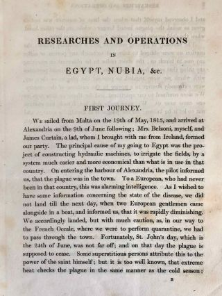 Narrative of the Operations and Recent Discoveries within the Pyramids, Temples, Tombs, and Excavations, in Egypt and Nubia; and of a Journey to the Coast of the Red Sea, in Search of the Ancient Berenice; and Another to the Oasis of Jupiter Ammon, with Plates illustrative of the researches and operations of G. Belzoni in Egypt and Nubia.[newline]M1874a-28.jpeg