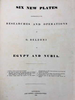 Narrative of the Operations and Recent Discoveries within the Pyramids, Temples, Tombs, and Excavations, in Egypt and Nubia; and of a Journey to the Coast of the Red Sea, in Search of the Ancient Berenice; and Another to the Oasis of Jupiter Ammon. Text and Plates illustrative of the researches and operations of G. Belzoni in Egypt and Nubia, including 6 new plates illustrative of the researches and operations of G. Belzoni in Egypt and Nubia (complete set)[newline]M1874b-094.jpg