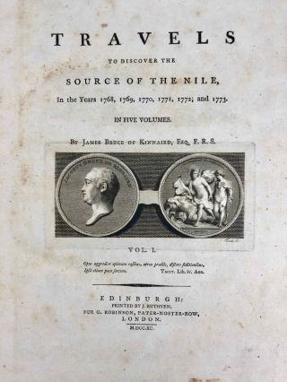 Travels to Discover the Source of the Nile, in the Years 1768, 1769, 1770, 1771, 1772, & 1773 (5 volumes, complete set)[newline]M1913-003.jpg